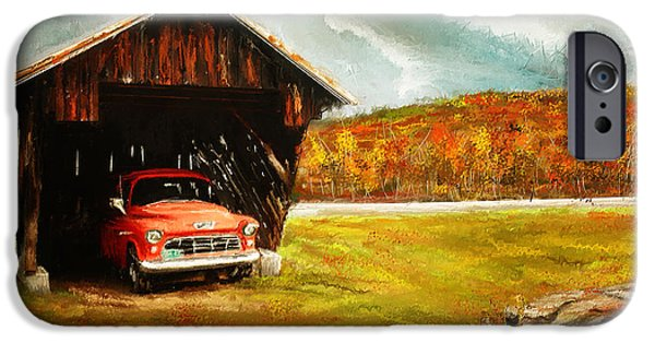 New England Autumn Scenes iPhone Cases - Old Barn and Red Truck iPhone Case by Lourry Legarde