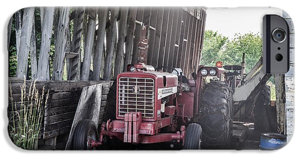 Machinery iPhone Cases - Old Barn and Tractor  iPhone Case by Amy  Wilson