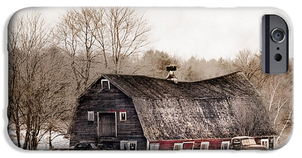 Old Barns iPhone Cases - Old Barn and Truck - Americana iPhone Case by Gary Heller