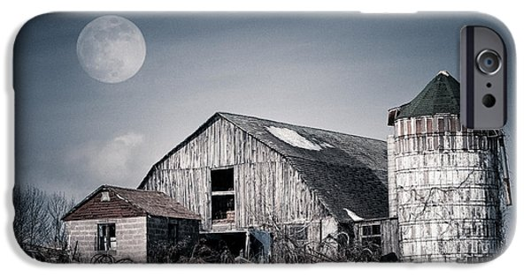 Old Barns iPhone Cases - Old Barn and winter moon - Snowy Rustic Landscape iPhone Case by Gary Heller