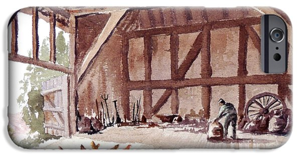 Old Barn Paintings iPhone Cases - Old Barn At Amberley Sussex iPhone Case by Bill Holkham