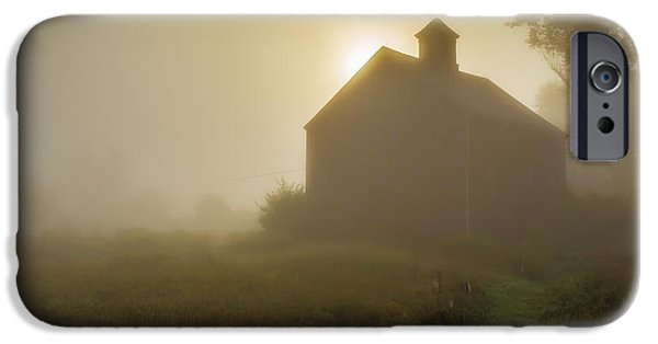 Eerie iPhone Cases - Old Barn Foggy Morning iPhone Case by Edward Fielding
