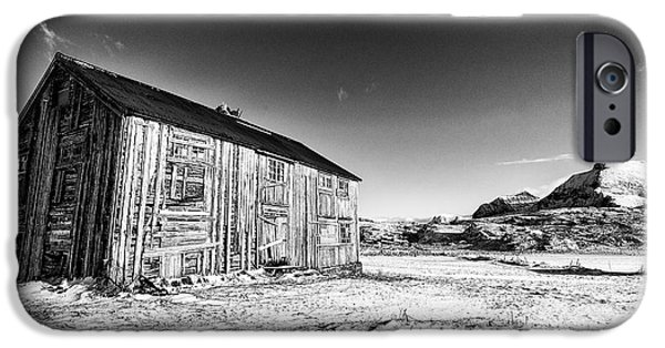 Norway iPhone Cases - Old Barn Fredvang iPhone Case by Janet Burdon