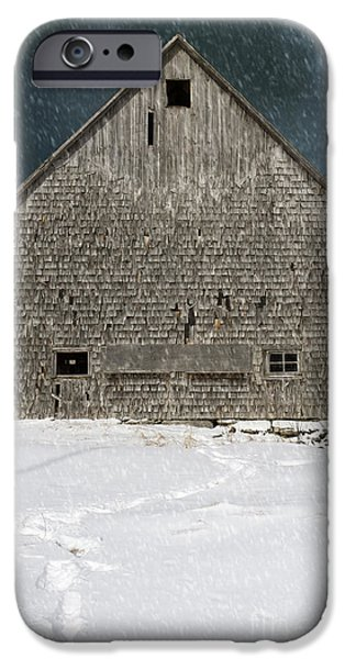 Old barn in a snow storm iPhone Case by Edward Fielding