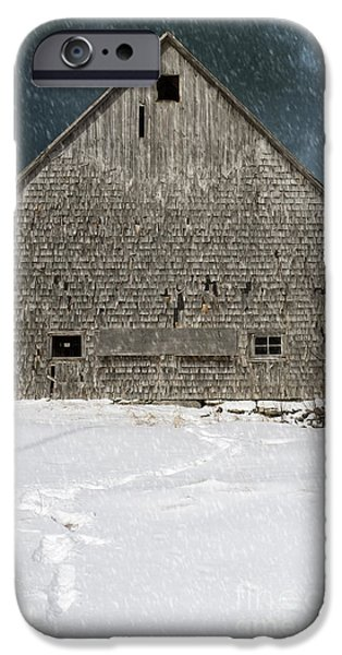 Old Barns iPhone Cases - Old barn in a snow storm iPhone Case by Edward Fielding
