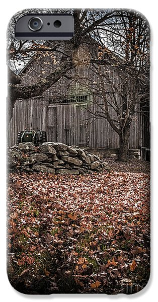 Rural iPhone Cases - Old barn in Autumn iPhone Case by Edward Fielding