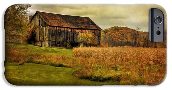 Dilapidated Digital Art iPhone Cases - Old Barn In October iPhone Case by Lois Bryan