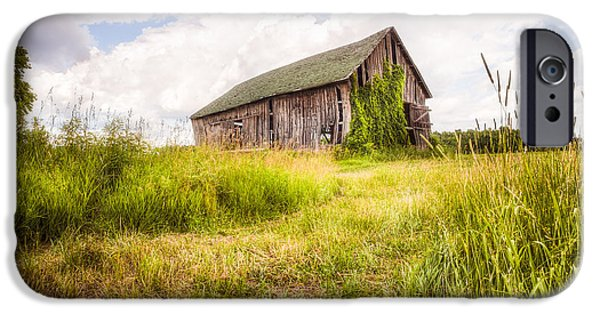 Surreal Landscape iPhone Cases - Old Barn in Ontario County - New York State iPhone Case by Gary Heller