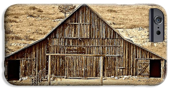 Old Barns Pyrography iPhone Cases - Old Barn in the Rockies iPhone Case by Krisztina  Gayler