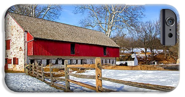 Red Barn In Winter iPhone Cases - Old Barn in Winter iPhone Case by Carolyn Derstine