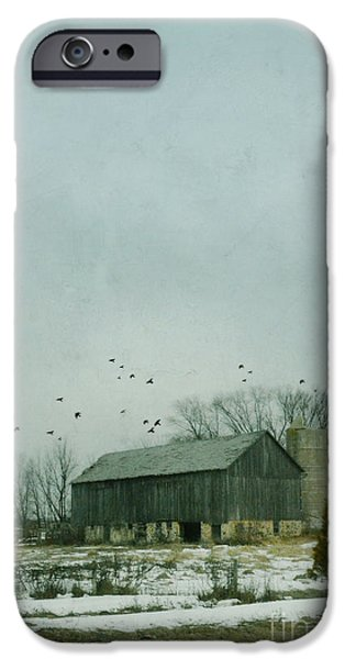 Rural Snow Scenes iPhone Cases - Old Barn in Winter iPhone Case by Jill Battaglia