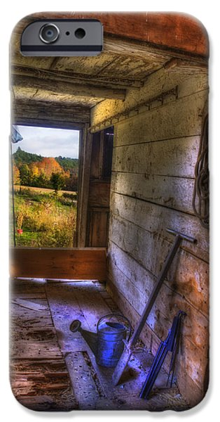 Fall Scenes iPhone Cases - Old Barn Interior iPhone Case by Joann Vitali