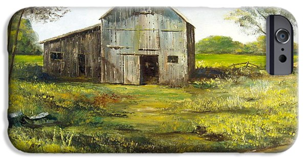 Rural Maine Roads iPhone Cases - Old Barn iPhone Case by Lee Piper