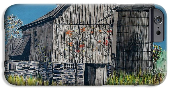 Old Barn Drawing iPhone Cases - Old Barn iPhone Case by Linda Simon