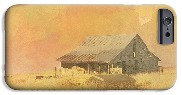 Old Barns iPhone Cases - Old Barn on the Prairie iPhone Case by Ann Powell