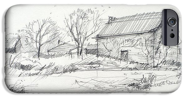 Old Barn Drawing iPhone Cases - Old barn sketch iPhone Case by Peut Etre