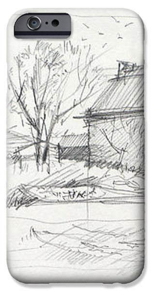 Old barn sketch iPhone Case by Peut Etre