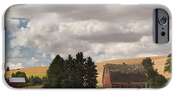 Recently Sold -  - Crops iPhone Cases - Old Barn Under Cloudy Sky, Palouse iPhone Case by Panoramic Images
