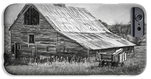 Nebraska iPhone Cases - Old Nebraska Barn - Wagon iPhone Case by Nikolyn McDonald