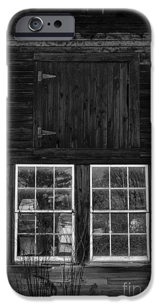Clapboard House iPhone Cases - Old Barn Windows iPhone Case by Edward Fielding