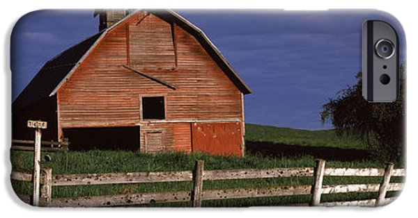 Old Barn iPhone Cases - Old Barn With A Fence In A Field iPhone Case by Panoramic Images