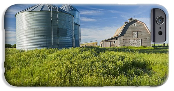 Dave iPhone Cases - Old Barn With Metal Grain Bins Ponteix iPhone Case by Dave Reede
