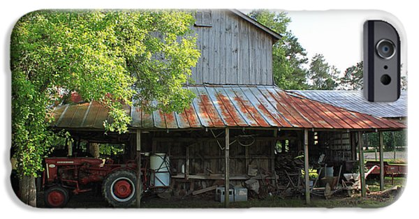 Old Barn Poster Photographs iPhone Cases - Old Barn with Red Tractor iPhone Case by Suzanne Gaff