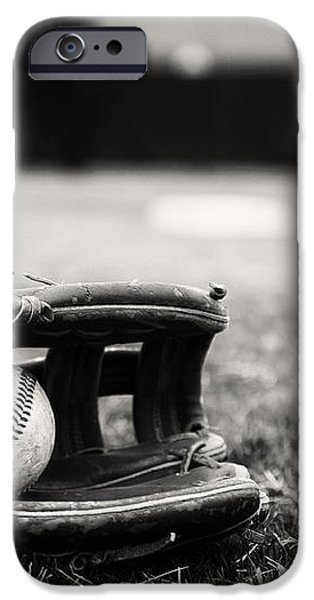 Old Baseball and Glove on Field iPhone Case by Danny Hooks
