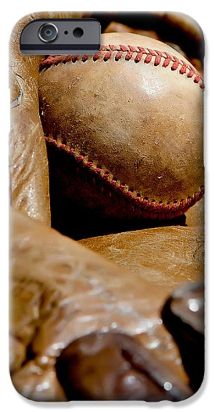 Old Baseball Ball and Gloves iPhone Case by Art Block Collections
