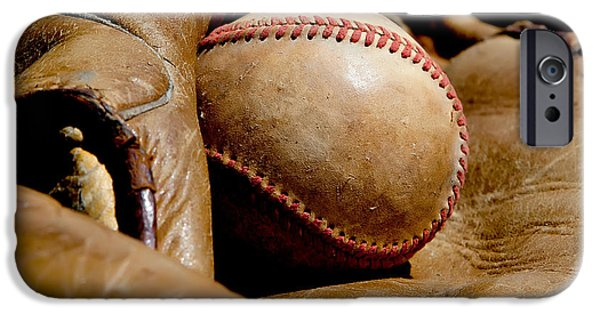 Baseball Glove iPhone Cases - Old Baseball Ball and Gloves iPhone Case by Art Block Collections