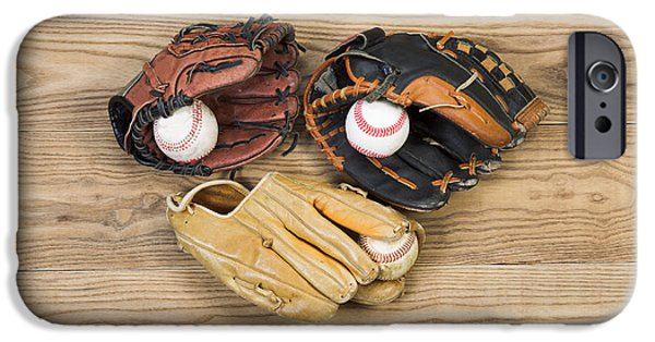 Baseball Glove iPhone Cases - Old Baseball Gloves and balls on aged wood iPhone Case by Tom  Baker