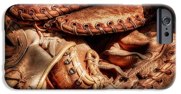 Baseball Glove iPhone Cases - Old Baseball Gloves iPhone Case by Bill  Wakeley