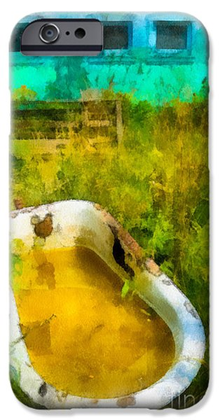 Old Bathtub Near Painted Barn iPhone Case by Amy Cicconi