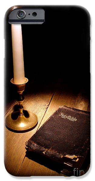 Bible Photographs iPhone Cases - Old Bible and Candle iPhone Case by Olivier Le Queinec