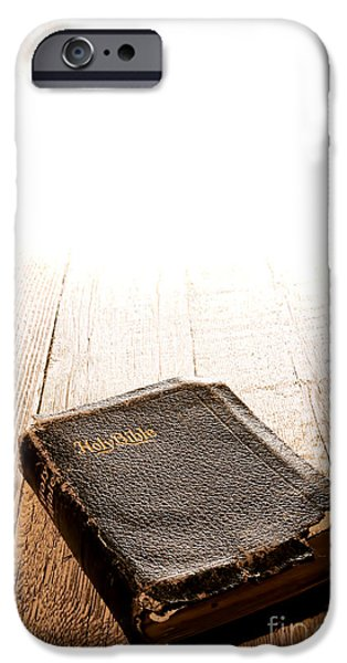 Bible Photographs iPhone Cases - Old Bible in Divine Light iPhone Case by Olivier Le Queinec