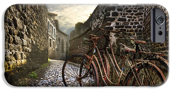 Summer iPhone Cases - Old Bicycles on a Sunday Morning iPhone Case by Debra and Dave Vanderlaan
