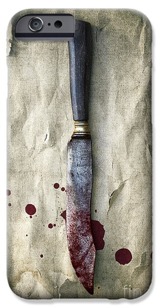 Dirty iPhone Cases - Old Bloody Knife iPhone Case by Carlos Caetano