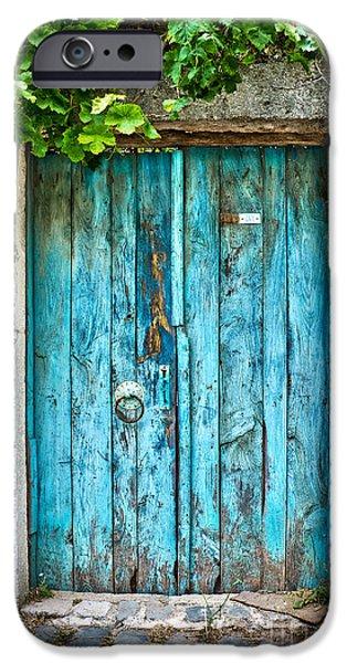 Wooden Door iPhone Cases - Old blue door iPhone Case by Delphimages Photo Creations