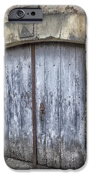South West France iPhone Cases - Old Blue Door in South-West France iPhone Case by Nomad Art And  Design