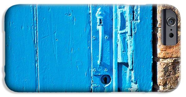 Ruin iPhone Cases - Old blue door iPhone Case by Tom Gowanlock