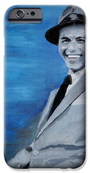 Frank Sinatra Paintings iPhone Cases - Old Blue Eyes - Frank Sinatra iPhone Case by Michael Kypuros