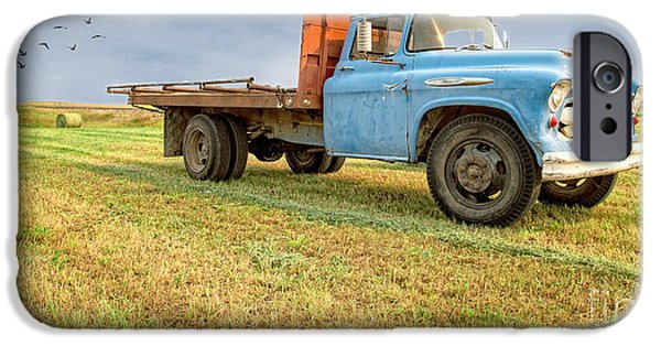 Agricultural iPhone Cases - Old Blue Farm Truck iPhone Case by Edward Fielding