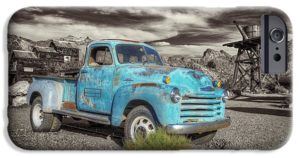 Abstract Digital Pyrography iPhone Cases - Old Blue Truck iPhone Case by Mauro Celotti