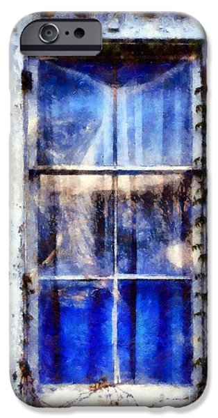 White House iPhone Cases - Old Blue Window iPhone Case by Janine Riley