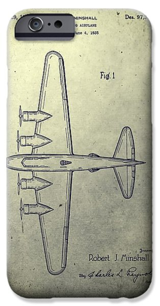 Transportation Mixed Media iPhone Cases - Old Bombing Aircraft Patent iPhone Case by Dan Sproul