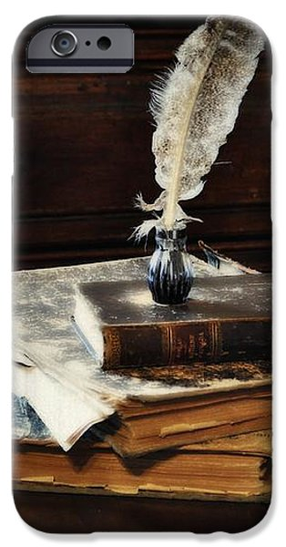 Old Books and a Quill iPhone Case by Mary Machare
