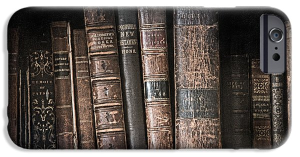 Nineteenth iPhone Cases - Old books on the shelf - 19th Century Library iPhone Case by Gary Heller