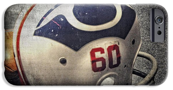 Patriots iPhone Cases - Old Boston Patriots Football Helmet iPhone Case by Mike Martin