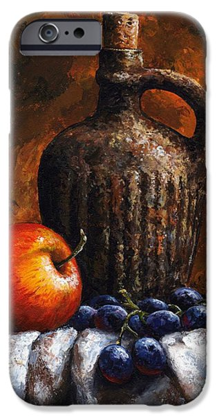 Original Mixed Media iPhone Cases - Old bottle and fruit iPhone Case by Emerico Imre Toth