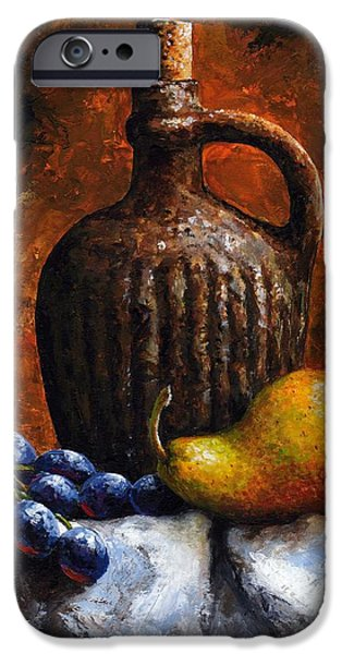 Pears Mixed Media iPhone Cases - Old bottle and fruit II iPhone Case by Emerico Imre Toth